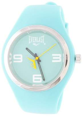 Everlast Slim Blue Round Sport Analog Rubber Watch W/ Silver Ring