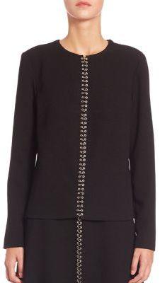 Alexander Wang Alexander Wang Solid Long Sleeve Metal Accented Top