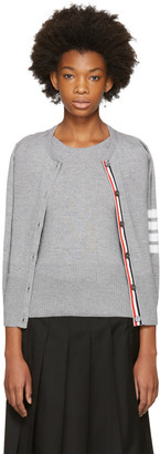 Thom Browne Grey Two-in-One Four Bar Cardigan $1,295 thestylecure.com