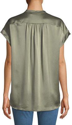 Vince Short-Sleeve Shirred Satin Blouse