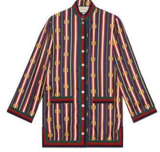Gucci Square GG belts silk twill shirt