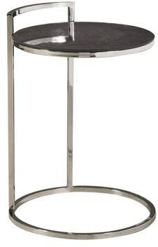 HomeFare Contemporary Round Stainless Steel and Glass Side Table