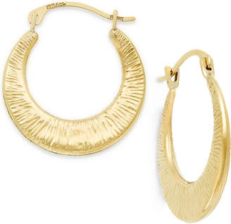 Macy's Ribbed Hoop Earrings in 10k Gold, 3/4 inch