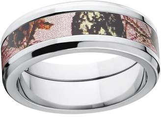 Mossy Oak Pink Break Up Women's Camo 8mm Stainless Steel Wedding Band with Polished Edges and Deluxe Comfort Fit