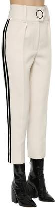 Petar Petrov High Waist Wool Pants W/ Velvet Stripes