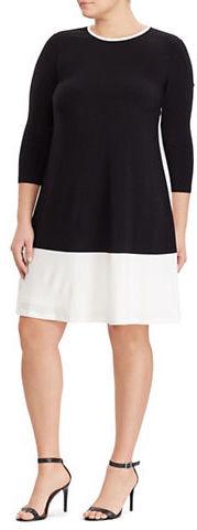 Lauren Ralph LaurenLauren Ralph Lauren Plus Two-Toned Jersey Dress