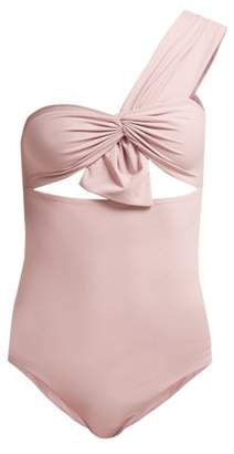 Marysia Swim Venice One Shoulder Cut Out Swimsuit - Womens - Light Pink