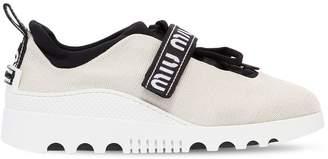 Miu Miu 30mm Logo Strap Knit Sneakers