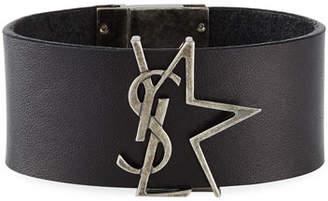 Saint Laurent Leather Monogram Star Bracelet, Black/Silver, Size M