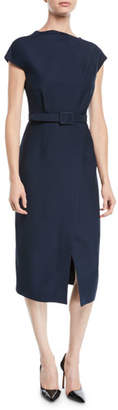 Oscar de la Renta Cap-Sleeve Belted Wrap-Style Wool-Silk Midi Dress