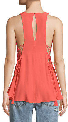 Astr Alaine Lace-Up Side Tank