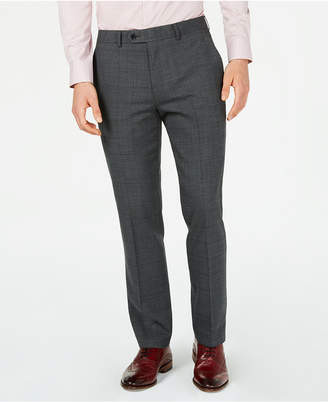 Bar III Men's Slim-Fit Active Stretch Gray Windowpane Sharkskin Suit Pants