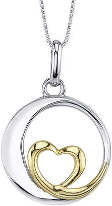FINE JEWELRY Inspired Moments Sterling Silver Love You to the Moon Heart Pendant Necklace