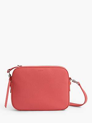 dc389b7687 AllSaints Captain Lea Square Leather Cross Body Bag, Coral Pink