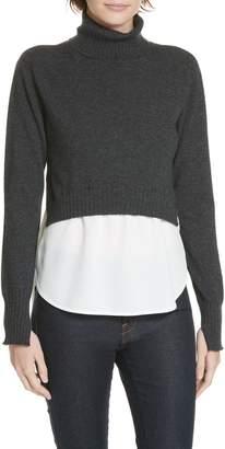 Brochu Walker Luna Mixed Media Layered Wool Cashmere Sweater