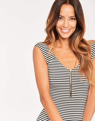 Figleaves Icon Cruise Off the Shoulder Shaping Striped Swimsuit