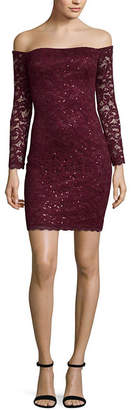My Michelle Long Sleeve Scroll Bodycon Dress-Juniors