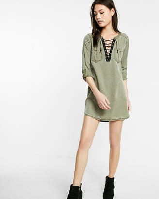 Express Lace-Up Silky Soft Twill Popover Tunic Dress