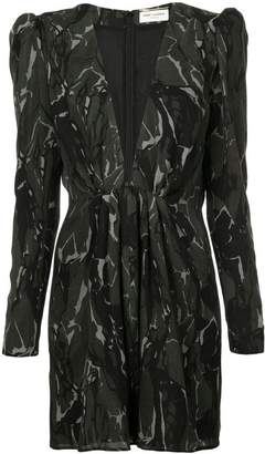 Saint Laurent camouflage long-sleeve mini dress