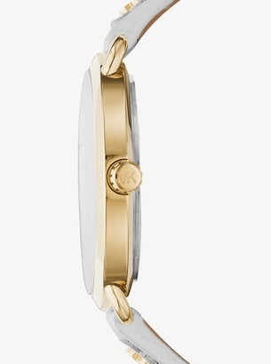 Michael Kors Portia Floral Applique Leather and Gold-Tone Watch