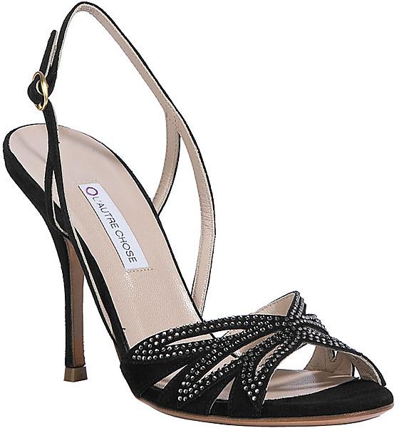 L'AUTRE CHOSE Black/Crystal Suede Sandals
