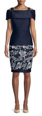 Badgley Mischka Platinum Embroidered Cold-Shoulder Sheath Dress