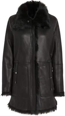 Yves Salomon High Collar Reversible Shearling Coat