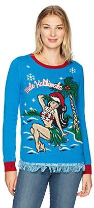 Ugly Christmas Sweater Women's Light up-Mele Kalikimaka Pullover Fringe Bottom Sweater