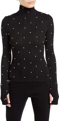 Prabal Gurung Milo Turtleneck Long-Sleeve Pearlescent Wavy-Ribbed Jersey Top