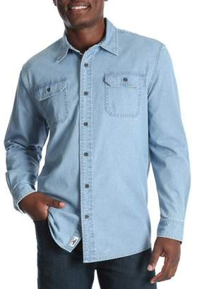 Wrangler Men's and Big & Tall Long Sleeve Stretch Denim Shirt, up to Size 5XL
