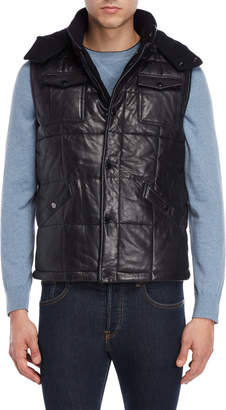Lth Jkt Hooded Leather Puffer Vest