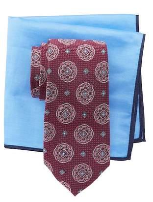 Ted Baker Herringbone Large Medallion Silk Tie & Pocket Square Set