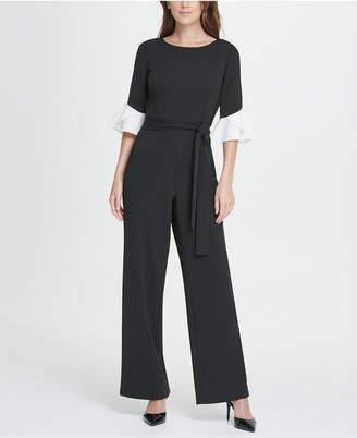 DKNY Colorblack Flare Sleeve Jumpsuit