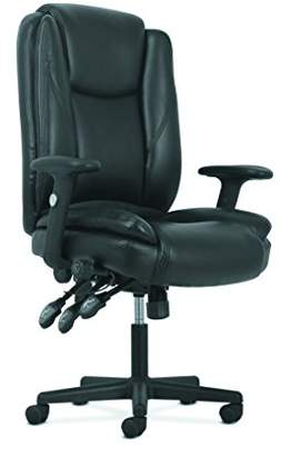HON Sadie High-Back Leather Office/Computer Chair - Ergonomic Adjustable Swivel Chair with Lumbar Support (HVST331)