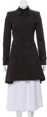 Alice + Olivia Leather-Accented Trench Coat