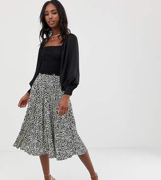 f88426d8c Missguided Tall pleated irregular print midi skirt black