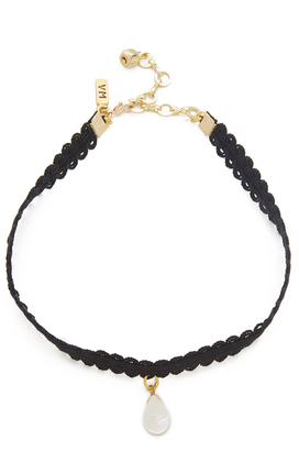 Vanessa Mooney Black Lace Choker with Teardrop $40 thestylecure.com
