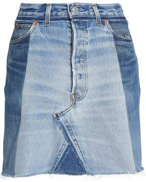 Re/Done By Levi's Frayed Two-Tone Denim Mini Skirt