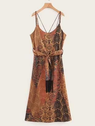 Shein Self Tie Tribal Print Cami Dress
