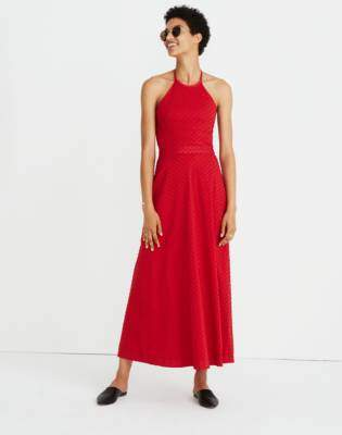 Madewell Halter Tie-Back Midi Dress in Clipdot