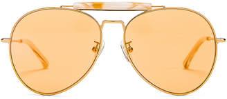 Dries Van Noten Aviator Sunglasses in Yellow Gold, Horn & Orange | FWRD