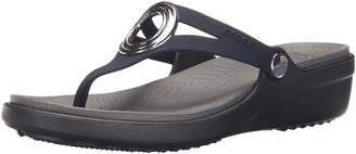 Crocs Women's Sanrah Beveled Circle Flip Wedge Sandal