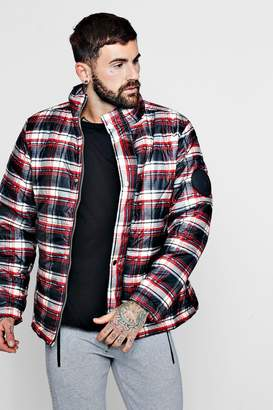 boohoo MAN Funnel Neck Check Puffer