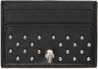 Alexander McQueen Black Studded Card Holder $215 thestylecure.com