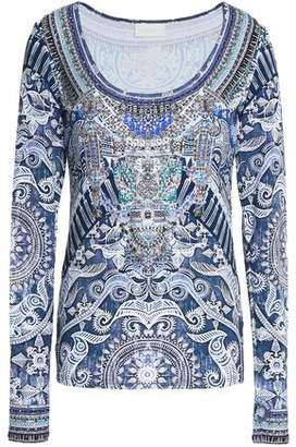 Camilla Crystal-Embellished Printed Stretch-Jersey Top