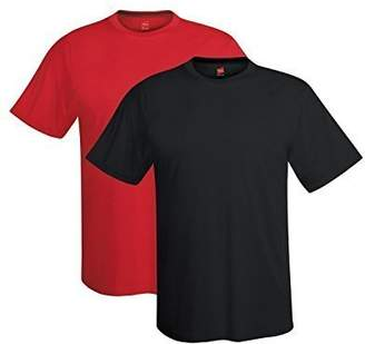 Hanes Mens 4 oz. Cool Dri T-Shirt-Graphite/Wow Pink-2XL