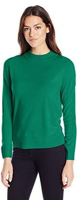 Sag Harbor Women's Long Sleeve Zip Back Mock Neck