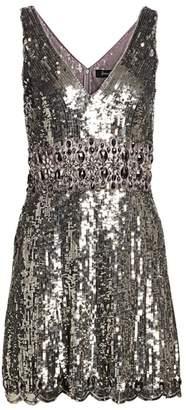 Jenny Packham Sleeveless V-Neck Sequin Fit-&-Flare Dress