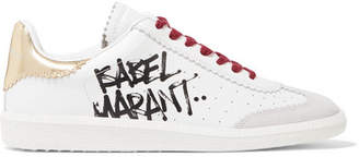 Isabel Marant - Bryce Printed Leather And Suede Sneakers - White $420 thestylecure.com