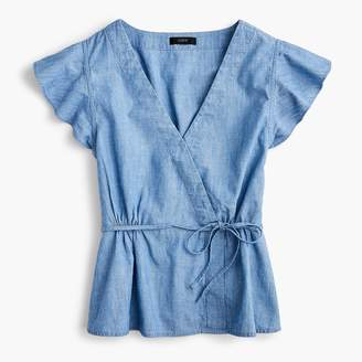 J.Crew Tall flutter-sleeve wrap top in chambray